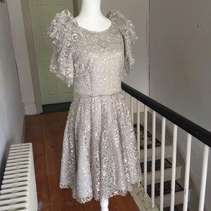 BCBG Cynthia Silver Metallic Lace Dress Size 10